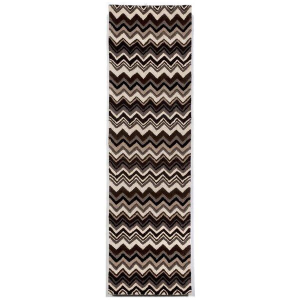 Shelburne Black/White Zigzag Stripe Area Rug by Latitude Run