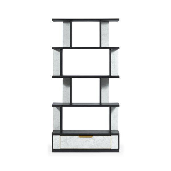 Fusion Four-Tier Calcutta Geometric Bookcase By Jonathan Charles Fine Furniture