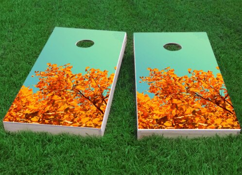 Fall Leaves Cornhole Game (Set of 2) by Custom Cornhole Boards