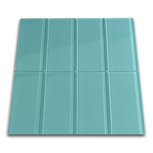 Water 3 x 6 Glass Mosaic Tile in Glossy Aqua by CNK Tile