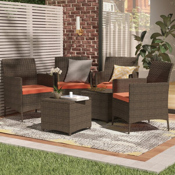 Auclair Wicker Patio 6 Piece Rattan Conversation Set with Cushions by Wrought Studio