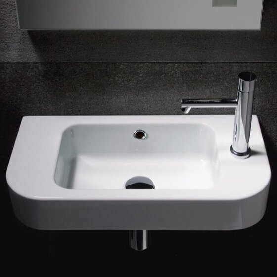 Traccia Ceramic 22 Wall Mount Bathroom Sink with Overflow by GSI Collection