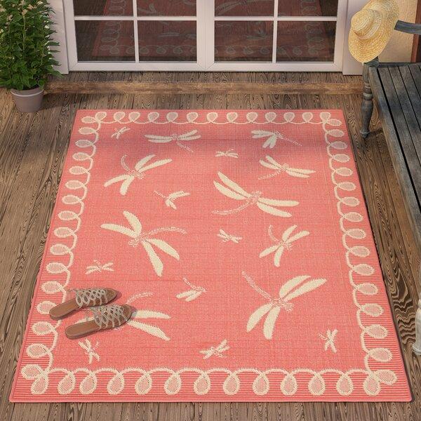Clatterbuck Dragonfly Pink/Beige Indoor/Outdoor Area Rug by Highland Dunes