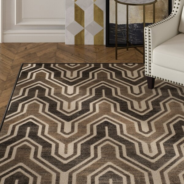 Gabbro Soft Anthracite/Cream Area Rug by Mercer41