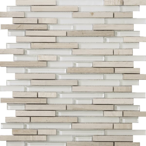 Lucente 12 x 12 Glass Stone Blend Linear Mosaic Tile in Andrea by Emser Tile