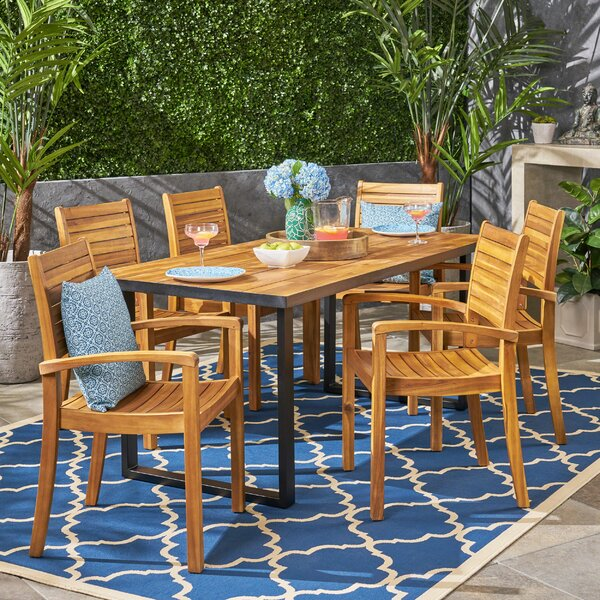 Restivo 7 Piece Teak Dining Set with Cushions by Breakwater Bay