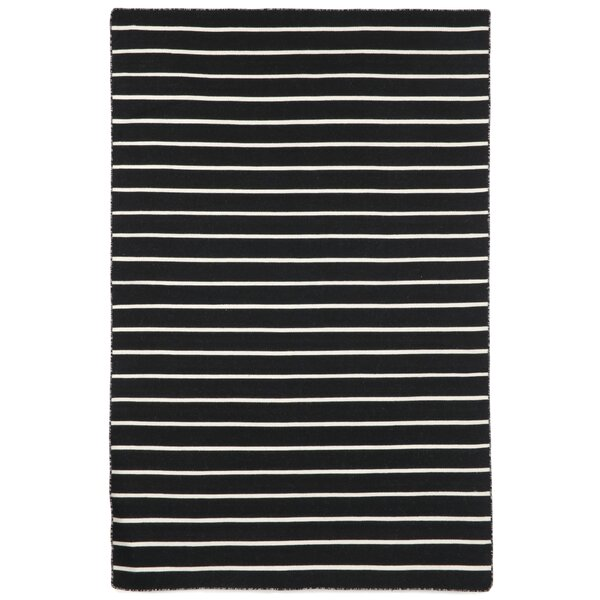 Ranier Pinstripe Hand-Woven Black Indoor/Outdoor Area Rug by Beachcrest Home