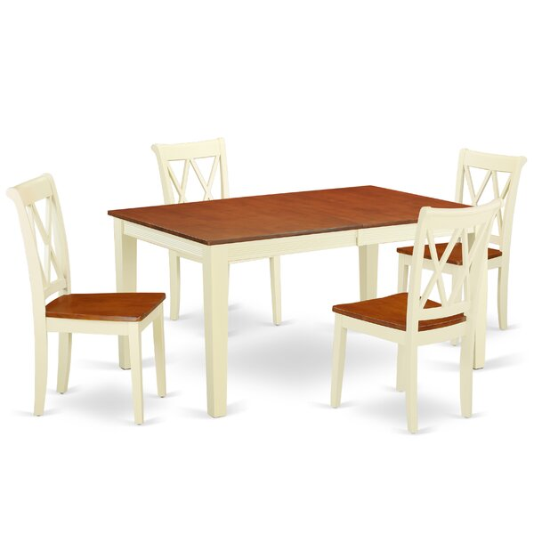 Kriebel 5 Piece Extendable Solid Wood Dining Set by August Grove