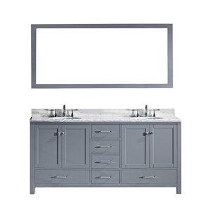 melba 728 double bathroom vanity set with carrara white top and mirror