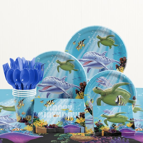 81 Piece Ocean Party Birthday Paper Plastic Tableware Set By Creative Converting.