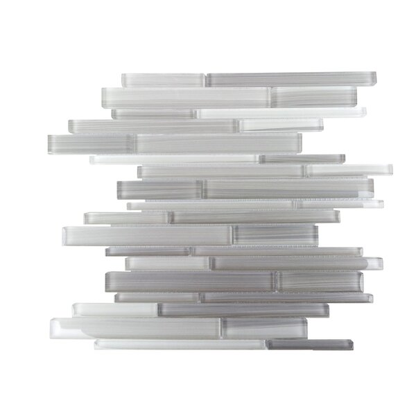 Horizon Random Sized Glass Splitface Tile in Gray and White by Mulia Tile