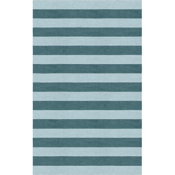 Lastra Stripe Hand-Tufted Wool Light Blue/Gray Area Rug by Latitude Run