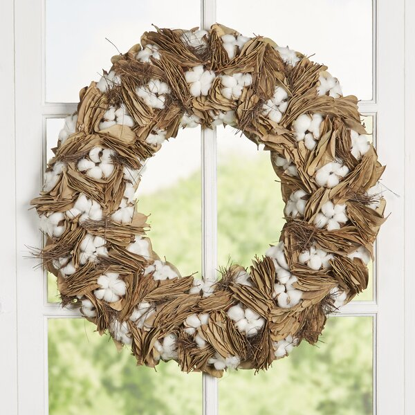 Leana Cotton 24 Wreath by Laurel Foundry Modern Farmhouse