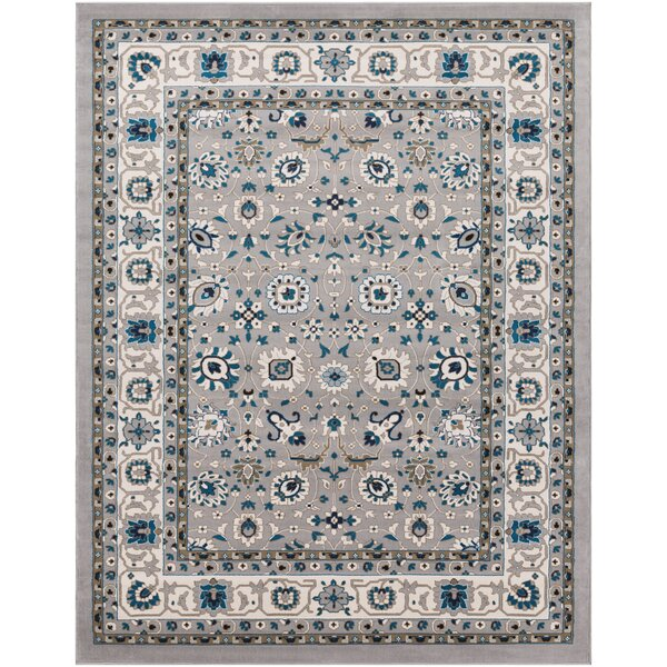 Kent Traditional Gray/Sky Blue Area Rug by Charlton Home