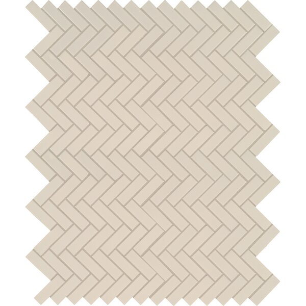 Domino Herringbone Mesh Mounted Porcelain Mosaic Tile in Almond by MSI