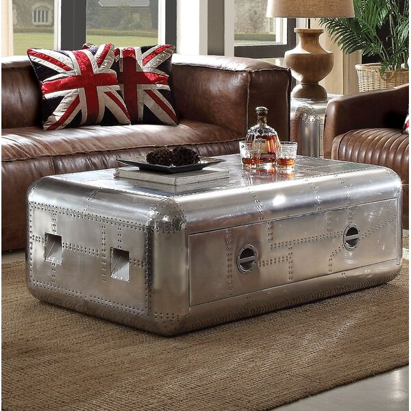 Lottie Trunk Aluminum Coffee Table With Storage By 17 Stories