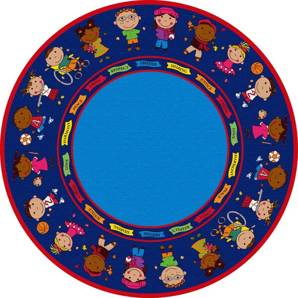 Friends Blue Circle Area Rug by Kid Carpet
