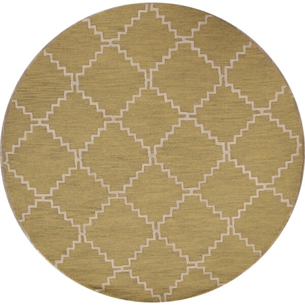 One-of-a-Kind Ayler Trellis Oushak Oriental Hand-Tufted Wool Green Area Rug by Ivy Bronx
