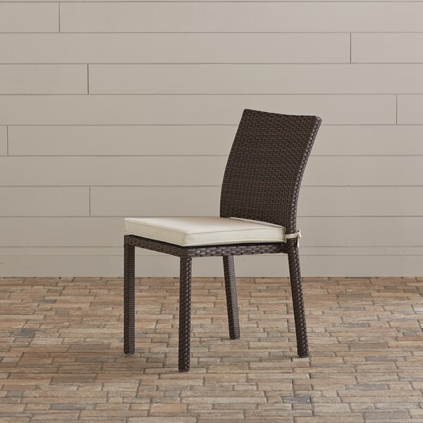 Finola Stacking Patio Dining Chair with Cushion (Set of 4) by Beachcrest Home