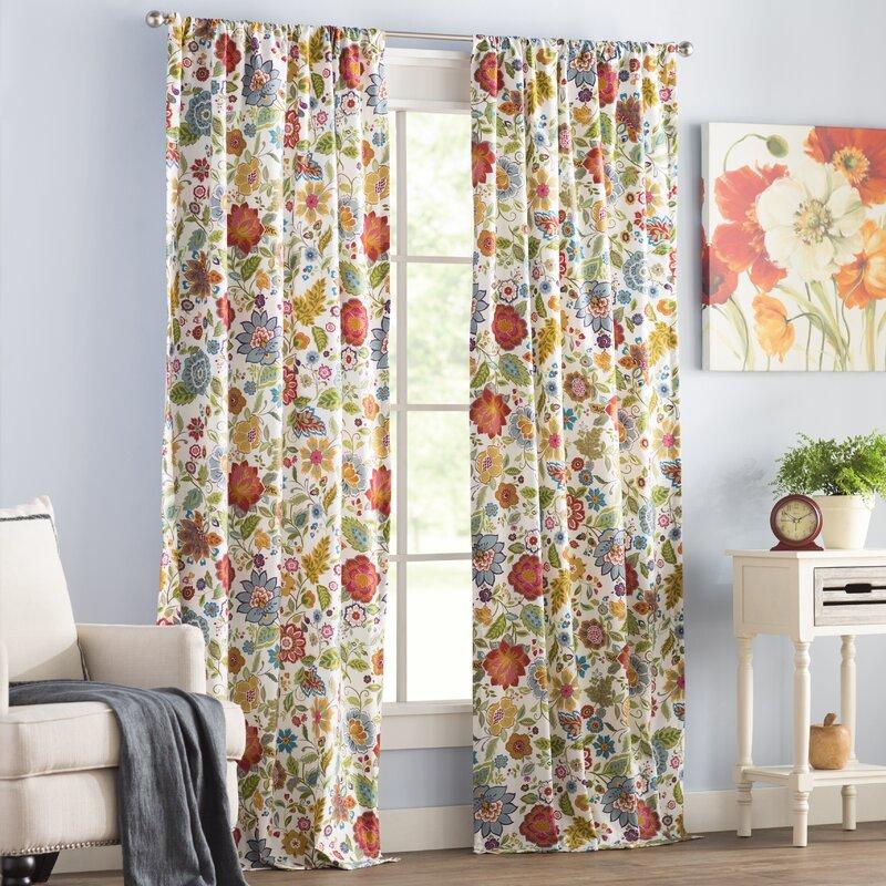 Heartwood Fl Sheer Rod Pocket Curtain Panels