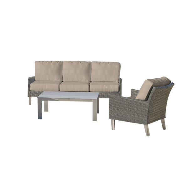 Gales 3 Piece Deep Seating Group with Sunbrella Cushions by Ebern Designs