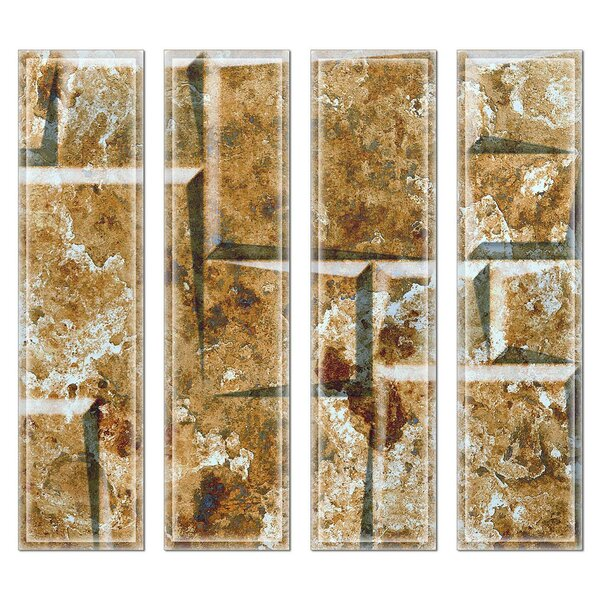 Crystal 3 x 12 Beveled Glass Subway Tile in Green/Brown by Upscale Designs by EMA