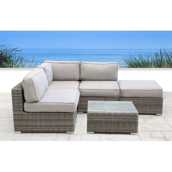 Yeomans Resort Grade 5 Piece Rattan Sectional Seating Group with Cushions by Rosecliff Heights