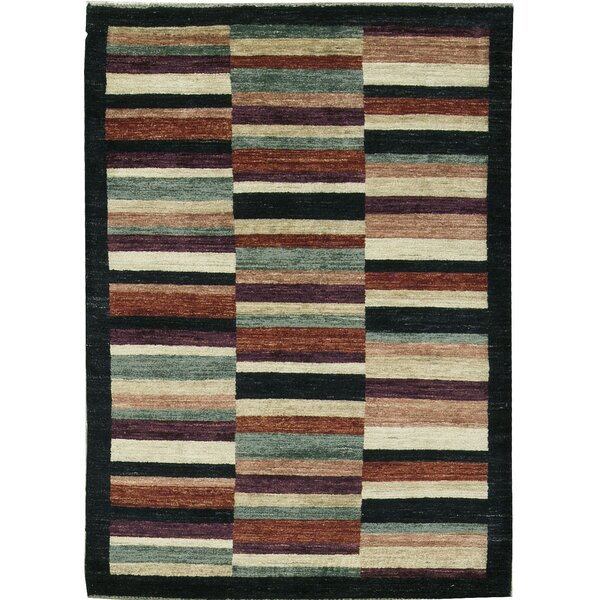 One-of-a-Kind Gabbeh Broken Stripes Hand-Knotted Wool Black/Brown Area Rug by Bokara Rug Co., Inc.
