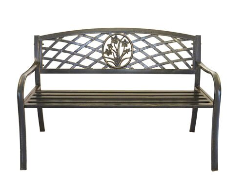 Flower Bouquet Cast Iron and Steel Park Bench by Pier Surplus