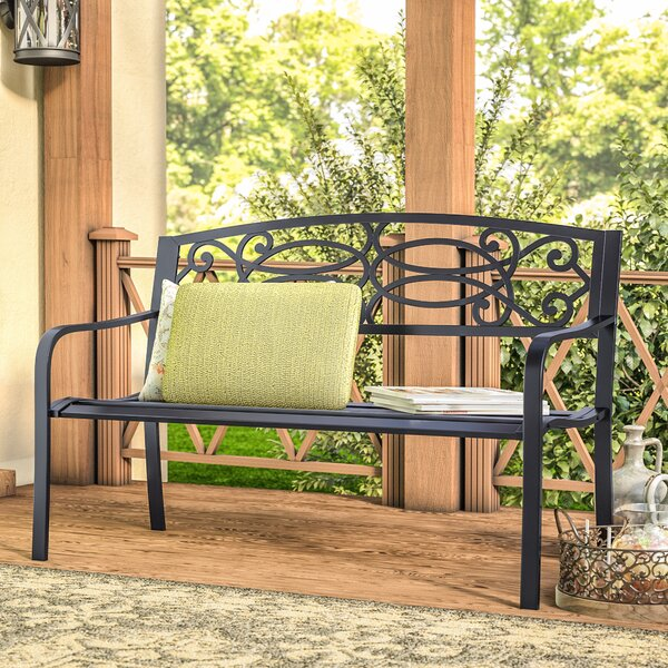 Besser Flowering Pattern Cast Iron and Tubular Steel Garden Bench by Fleur De Lis Living