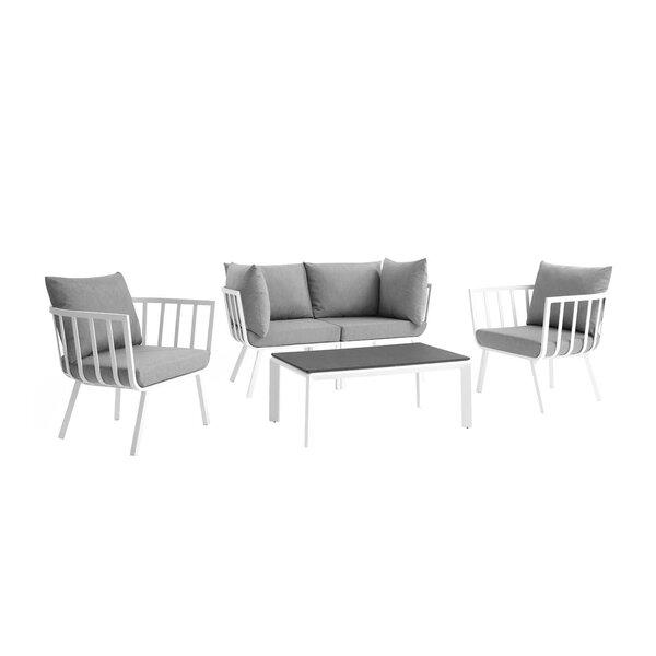 Montclaire Outdoor Patio 4 Piece Sofa Seating Group with Cushions by Brayden Studio Brayden Studio