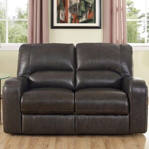 Woodhull Leather Reclining Loveseat Red Barrel Studio