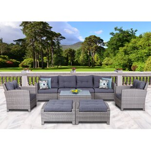 Dowdy 9 Piece Rattan Sectional Seating Group with Cushions By Rosecliff Heights