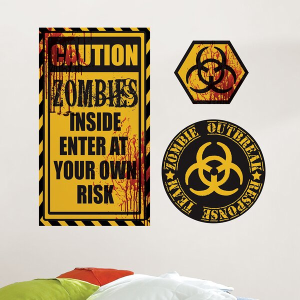 3 Piece Caution Zombies Quote Wall Decal Set by WallPops!