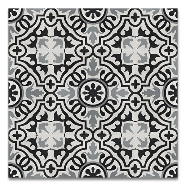 Baha Handmade 8 x 8 Cement Tile in Black/Gray by Moroccan Mosaic