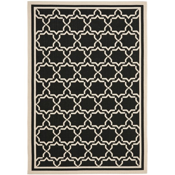 Short Black & Beige Area Rug by Winston Porter