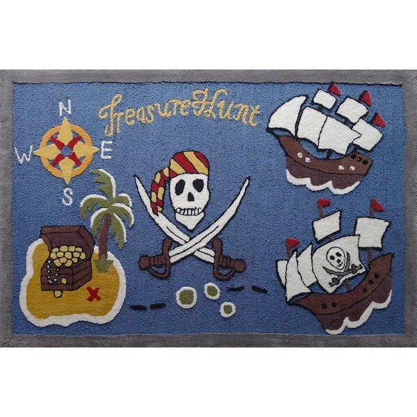 Haygood Pirate Theme Hand-Tufted Blue/Brown Area Rug by Zoomie Kids