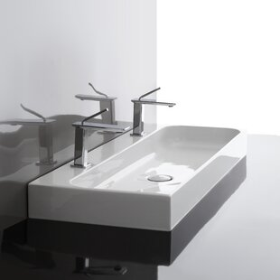 Best Reviews Unit Ceramic Ceramic Rectangular Vessel Bathroom Sink with Overflow By WS Bath Collections