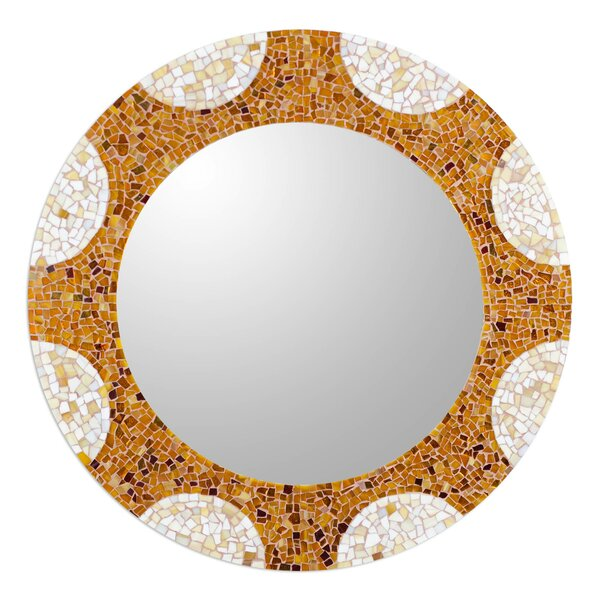 Radiant Hills Handcrafted Stained Glass Round Wall Mirror by Novica