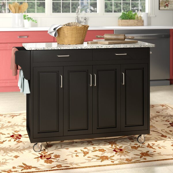 Campuzano Kitchen Island with Granite Top by Charlton Home