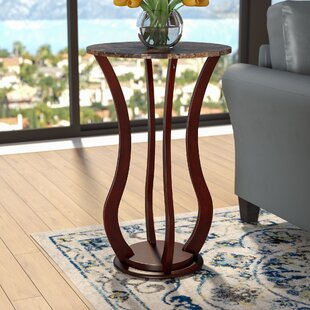 Reviews O'Neil Faux Marble Top Pedestal Plant Stand in Cherry By Charlton Home