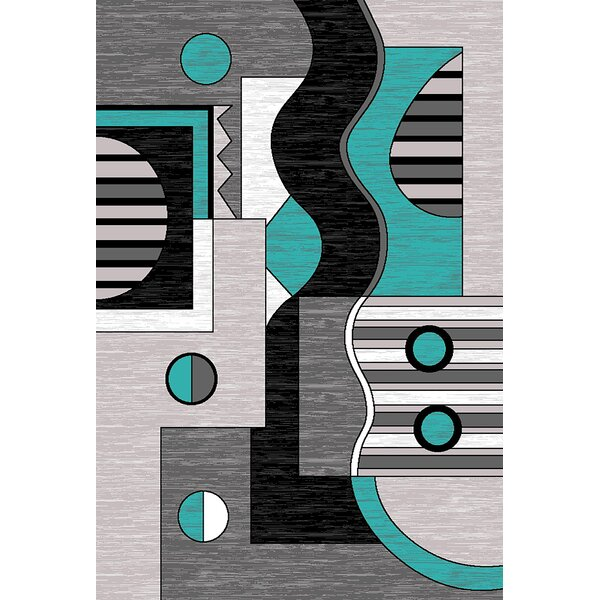 Mccampbell 3D Turquoise/Gray Area Rug by Ivy Bronx