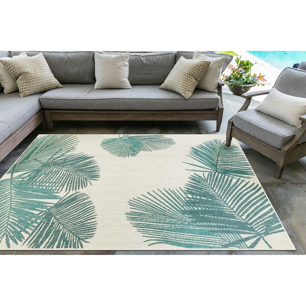 Bradly Palm Aqua Indoor/Outdoor Area Rug