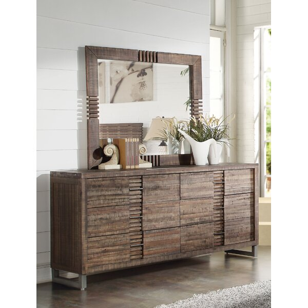 Alsup 6 Drawer Double Dresser with Mirror by Foundry Select