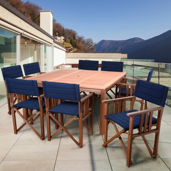 Sanor Patio 9 Piece Dining Set with Cushion by Beachcrest Home
