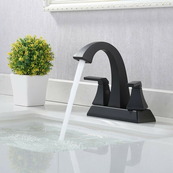 Two Handle Centerset Bathroom Faucet with Drain Assembly