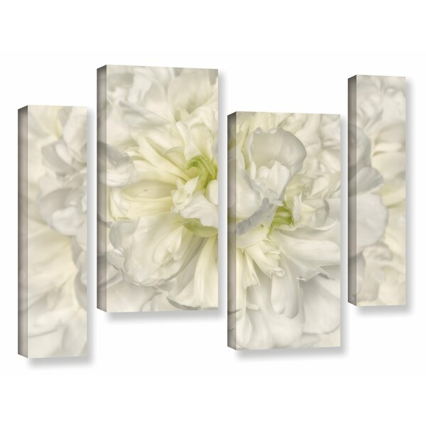 Pure White Peony 4 Piece Photographic Print on Wrapped Canvas Set by House of Hampton