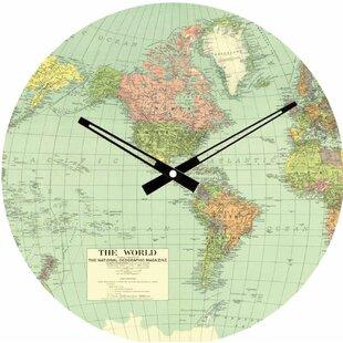 World map clock wayfair world map 115 wall clock publicscrutiny Images