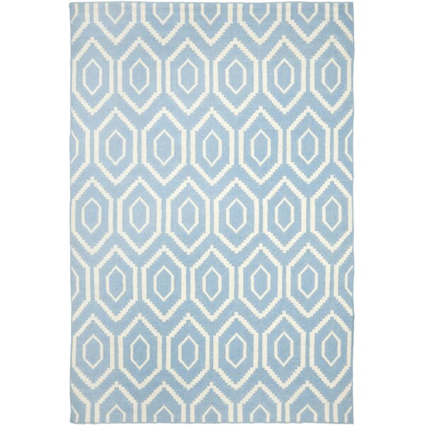 Gem Jam Hand-Woven Wool Blue/Ivory Area Rug by Birch Lane Kids™