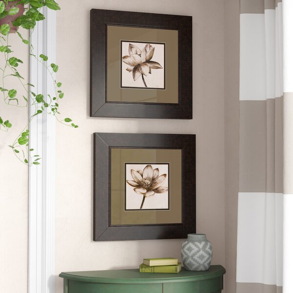 Sepia Lotus 2 Piece Framed Painting Print Set by Alcott Hill